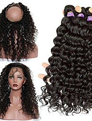 cheap -Malaysian Hair Deep Wave 360 Frontal Human Hair Weaves 4 Pieces One Pack Solution