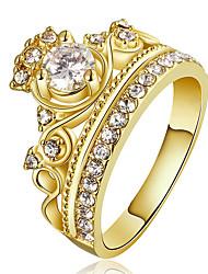 Недорогие -Жен. Массивные кольца Кольцо Обручальное кольцо Кристалл Цирконий На заказ Роскошь Мода Euramerican Массивные украшения Медь Позолота В