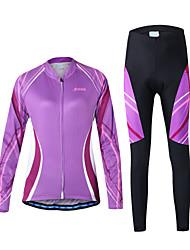 Arsuxeo Maglia con pantaloni da ciclismo Per donna Manica lunga Bicicletta Set di vestiti Asciugatura rapida Zip anteriore Traspirante