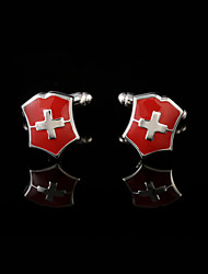 cheap -Cross Geometric Red Cufflinks Copper Fashion Gift Boxes & Bags Men's Costume Jewelry