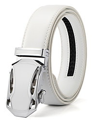 cheap -Men's White Solid Buckle with Automatic Ratchet Leather Belt 35mm Wide 1 3/8