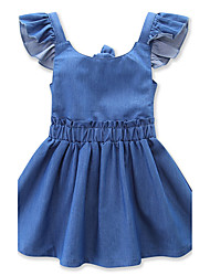cheap -Girl's Beach Going out Solid Dress, Others Summer Sleeveless Bow Light Blue