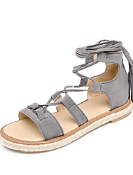 Women's Sandals Gladiator Microfibre Summer Casual Gladiator Lace-up Flat Heel Black Beige Gray Yellow Flat