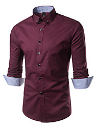 Men's Going out Casual/Daily Simple Boho All Seasons Shirt,Print Classic Collar Long Sleeve Cotton Medium