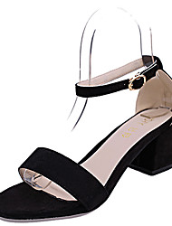 cheap -Women's Sandals Club Shoes PU Spring Summer Dress Party & Evening Club Shoes Rhinestone Buckle Chunky Heel Black Blushing Pink 3in-3 3/4in