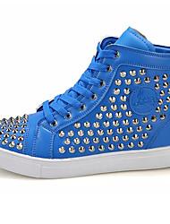 Da uomo-Sneakers-Casual-Comoda-Piatto-Di pelle-Bianco Nero Rosso Blu