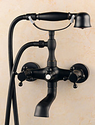 Antique Centerset Handshower Included Ceramic Valve Three Holes Single Handle Two Holes Oil-rubbed Bronze , Bathtub Faucet
