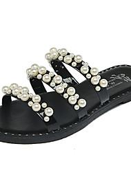 Women's Sandals Comfort PU Summer Outdoor Walking Stitching Lace Button Flat Heel White Black Under 1in