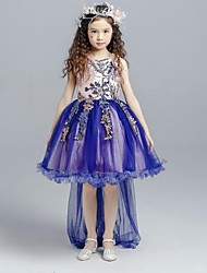 cheap -Ball Gown Asymmetrical Flower Girl Dress - Organza Sleeveless Jewel Neck with Applique by YDN