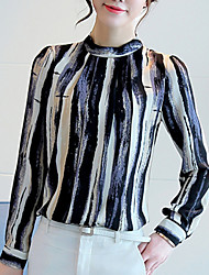 Women's Casual/Daily Simple Blouse,Striped Round Neck Long Sleeve Silk Cotton Opaque