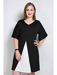 Damen A-Linie Lose T Shirt Kleid-Lässig/Alltäglich Party/Cocktail Übergröße Sexy Einfach Niedlich Einfarbig V-Ausschnitt Midi½ Länge