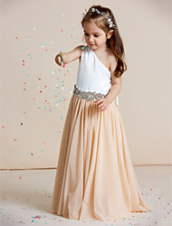 cheap -A-Line Floor Length Flower Girl Dress - Chiffon / Satin Sleeveless One Shoulder with Crystals / Draping by LAN TING BRIDE® / Mini Me