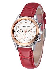 baratos -REBIRTH Mulheres Quartzo Japonês Relógio de Pulso Japanês / PU Banda Casual Fashion Preta Branco Vermelho Marrom
