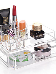 cheap -Acrylic Transparent Complex Combined Large Capacity Double 2 Layer Makeup Brush Pot Cosmetics Storage Stand Drawer Cosmetic Organizer Box 2PCS Set