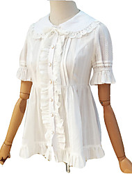 abordables -Doux Chemisier/Chemise Cosplay Blanc Manches Courtes