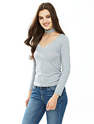 Women's Choker Going out / Casual/Daily / Formal Sexy / Cute Fall / Winter T-shirt,Solid Round Neck Long Sleeve White / Black / Gray Cotton