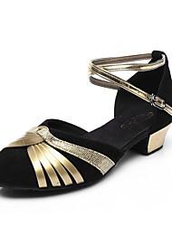 cheap -Kids' Latin Flocking Sparkling Glitter Patent Leather Sandal Heel Performance Bowknot Sequin Buckle Sparkling Glitter Chunky Heel