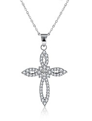 Women's Pendant Necklaces AAA Cubic Zirconia Cross Sterling Silver ZirconBasic Unique Design Dangling Style Tassel Rhinestone Natural