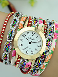 Women's Fashion Bracelet Watch Quartz PU Band Flower Brand