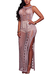 cheap -Women's Beach Club Holiday Casual Sexy Street chic Bodycon Dress,Solid Round Neck Maxi Sleeveless Polyester Spring Summer High Rise
