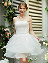 cheap -A-Line Strapless Short / Mini Organza Satin Custom Wedding Dresses with Appliques by LAN TING BRIDE®
