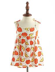 abordables -Vestido Chica de Diario Algodón Sin Mangas Verano Floral Naranja