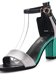Feminino Sandálias Conforto Couro Ecológico Verão Casual Caminhada Conforto Combinação Salto Grosso Verde Azul 7,5 a 9,5 cm