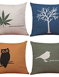 Set of 4 Small Tree Owl Pattern   Linen Pillowcase Sofa Home Decor Cushion Cover