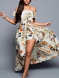 cheap -Women's Beach / Holiday Swing Dress - Floral Print Maxi Off Shoulder
