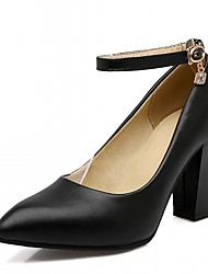 cheap -Women's Heels Spring Fall Comfort Leatherette Party & Evening Dress Casual Chunky Heel Buckle Lace-up Blushing Pink Beige Black