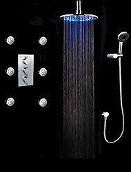 cheap -Contemporary Shower System Rain Shower Handshower Included LED Chrome, Shower Faucet