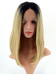 Donna Parrucche sintetiche Lace frontale Pantaloncini Lisci Nero / Strawberry Blonde Caschetto fila in mezzo Attaccatura dei capelli