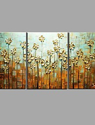 Недорогие -Ручная роспись маслом современный цветок ножа 3 шт / набор настенной живописи с вытянутой раме готовы повесить