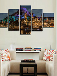 cheap -Rolled Canvas Prints Landscape Modern, Five Panels Horizontal Print Wall Decor Home Decoration