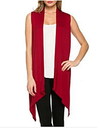 cheap -Women's Daily Work Casual Long Cardigan,Solid Halter Sleeveless Cotton Summer Thin Medium Micro-elastic