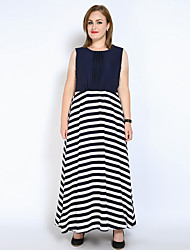cheap -Really Love Women's Party Beach Plus Size Vintage Sexy Street chic Loose Chiffon Swing Dress,Striped Color Block Patchwork Round Neck Maxi Sleeveless