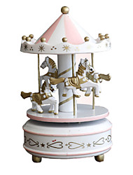 cheap -Music Box Toys Cute DIY Circular Horse Carousel Merry Go Round Plastic Pieces Unisex Birthday Gift