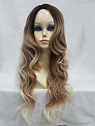 Women's Ombre Wig Synthetic Natural Long Wavy Brown/Blonde Highlights Full Wig