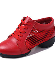 "cheap -Women's Dance Sneakers Leather Split Sole Outdoor Low Heel White Black Red 1"" - 1 3/4"" Non Customizable"