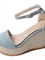 Women's Sandals Comfort PU Summer Casual Walking Comfort Buckle Wedge Heel Dark Blue Light Blue Light Brown 3in-3 3/4in