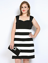 cheap -Really Love Women's Party Daily Plus Size Cute Sexy Street chic Sheath T Shirt Black and White Dress,Striped Color Block Boat Neck Knee-length