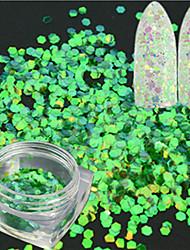 1 Flasche Mode Nail Art Glitter grüne Meerjungfrau Hexagon Paillette Laser dünne Scheibe Nail Art Glitzer Fisch Skala Scheibe Dekoration