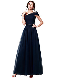 cheap -A-Line Off-the-shoulder Floor Length Tulle Formal Evening Dress with Sash / Ribbon Pleats by Sarahbridal