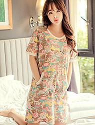 Недорогие -женщина хлопка картонная печать милая пижама платье радуга весна зима лето
