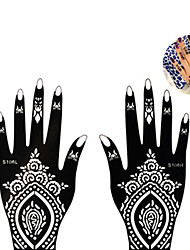 1Pair Fashion Beautiful Flower Totem Design Nail Art Left&Right Hand Tattoo Stickers Tattoo Beauty Art Hollow Hand Template  Flower Decoration S106