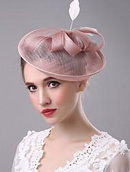 abordables -fascinator pluma de lino velos jaula casco estilo elegante