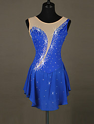 cheap -Figure Skating Dress Women's Girls' Ice Skating Dress Aquamarine Fuchsia Rhinestone High Elasticity Performance Skating Wear Handmade