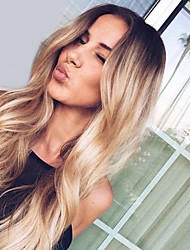 cheap -Synthetic Hair Wigs Wavy Middle Part Dark Roots Ombre Hair Natural Wigs Long Blonde