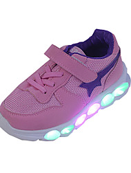 Boys' Athletic Shoes Comfort PU Spring Summer Athletic Casual Running Comfort Hook & Loop LED Lace-up Flat Heel Blue Blushing Pink Flat