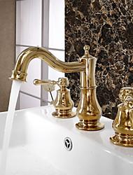 Art déco/Retrò A 3 fori Separato with  Valvola in ceramica Uno Due maniglie Tre fori for  Ti-PVD , Lavandino rubinetto del bagno